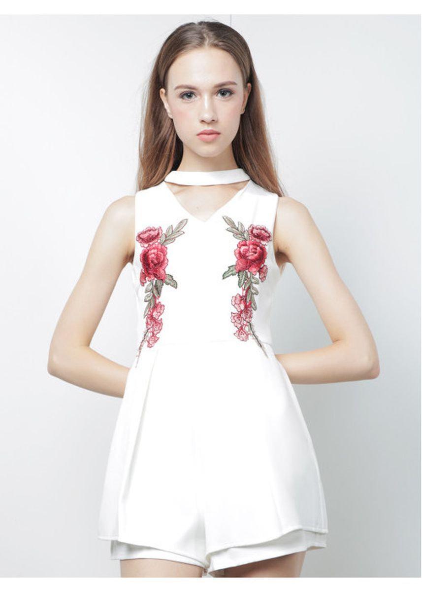 White color Jump Suits . Addison Embroidery Playsuit -