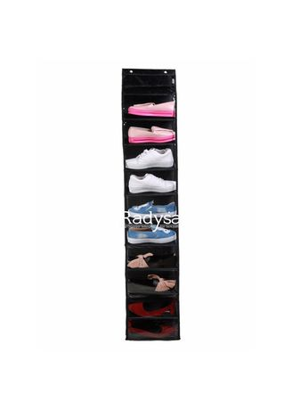 Black color Shoe Storage . RADYSA Hanging Shoe Organizer ( HSO ) / Rak Sepatu Gantung Tanpa Resleting -