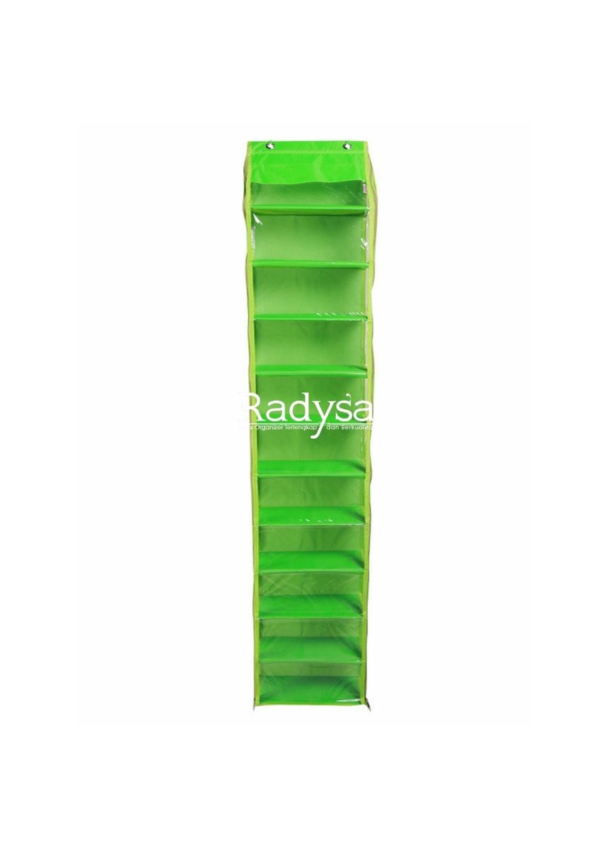 Green color Shoe Storage . RADYSA Hanging Shoe Organizer Zipper( HSOZ ) / Rak Sepatu Gantung 10 Susun Resleting -
