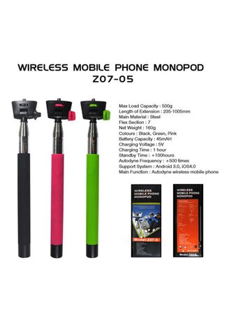 Hitam color  . FIRSTPROJECT MONOPOD BLUETOOTH WIRELESS Z07-5 FOR IPHONE (FREE PHONE HOLDER L + ADAPTER) -