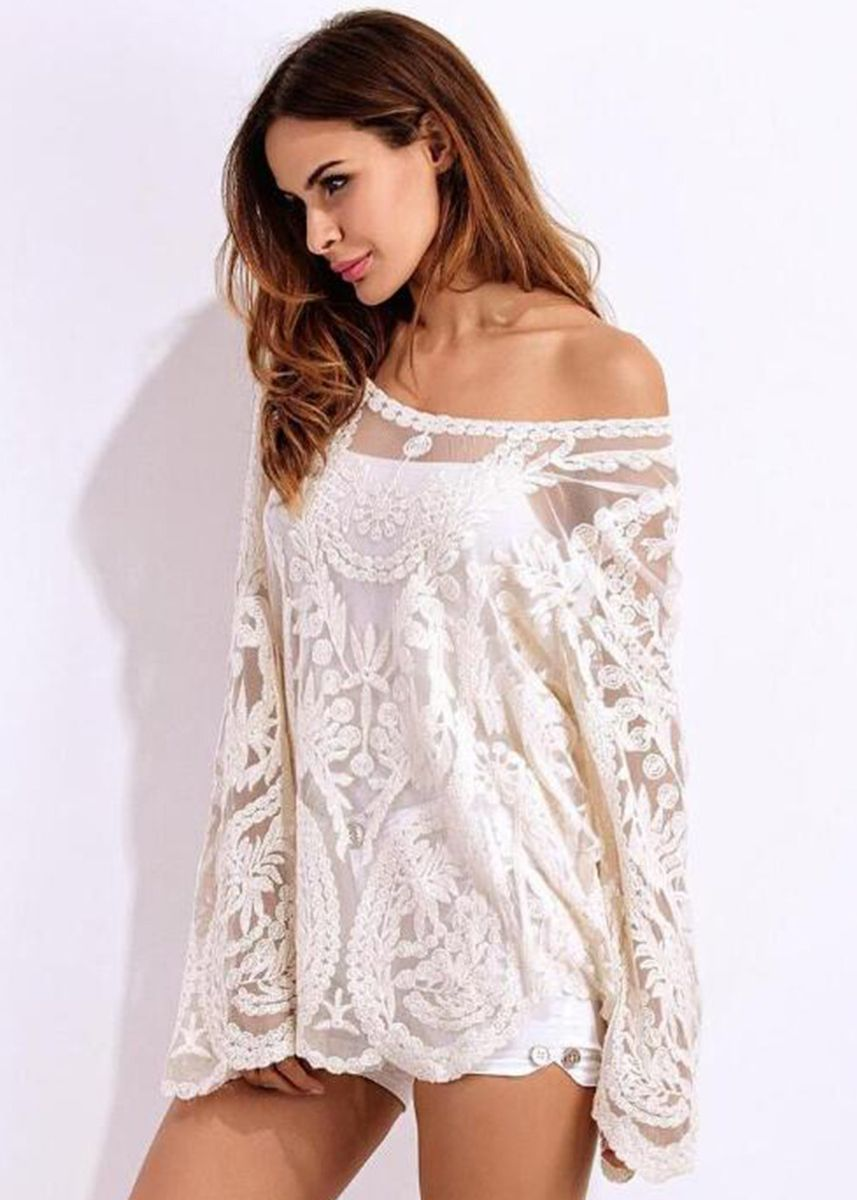 White color Tops and Tunics . Off Shoulder Beach Sunscreen Blouse -
