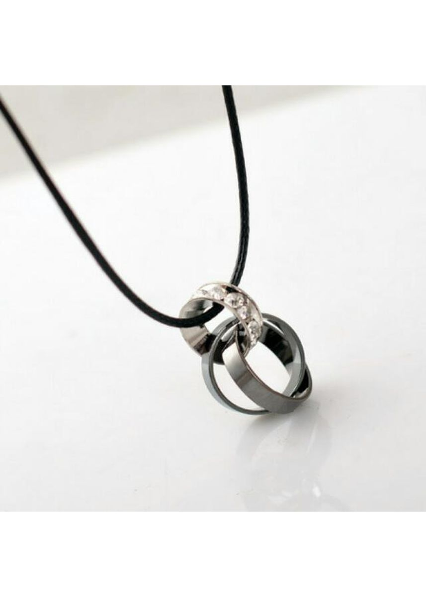 Black color Necklaces . Couples Stainless Steel Ring Pendant + Waxed Leather Cord Necklace -
