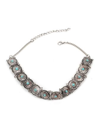 Silver color  . Bohemia Metal Disk Turquoise Necklace -