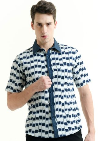 Blue color Casual Shirts . Short Sleeve Cotton Cap Shirt -
