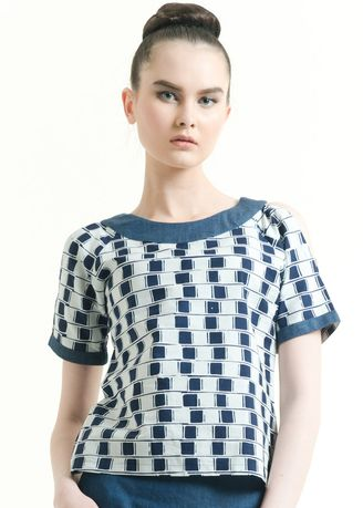 Blue color Tops and Tunics . Short Sleeve Cotton Cap Blouse -