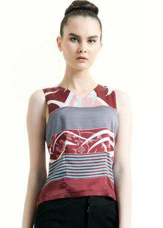 Maroon color Tops and Tunics . Sleeveless Cotton Print Blouse -