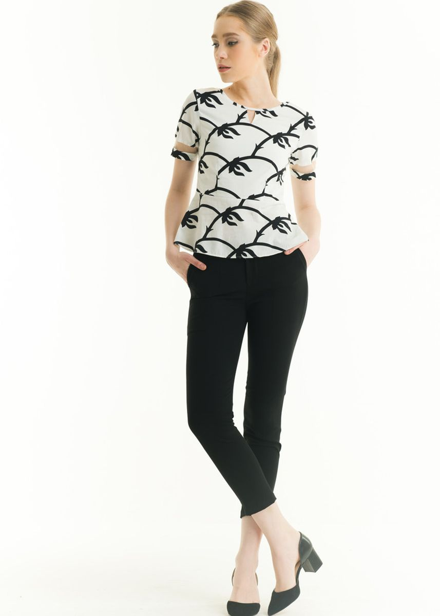 White color Tops and Tunics . Short Sleeve Polyester Print Blouse -