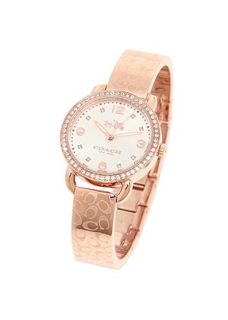 Pink color Analog . 5.COACH Women's Delancey 28mm Bangle Watch Silver/Rose Gold Watch 14502355 -