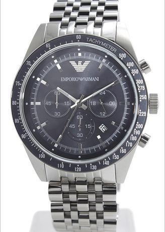 Silver color Digital . Emporio Armani Sportivo Chronograph Blue Dial Stainless Steel Mens Watch AR6072 -