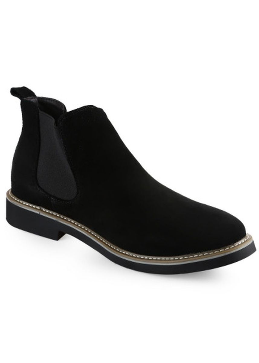 ดำ color บู้ต . Casual Pure Color Slip On Male Boots -