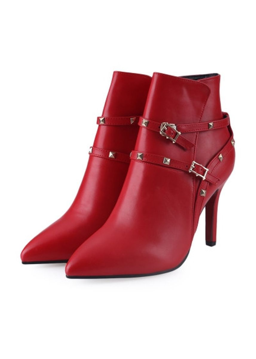 Red color Boots . Stylish Rivet Decoration Pointed Toe Ladies Thin High Heel Ankle Boots -