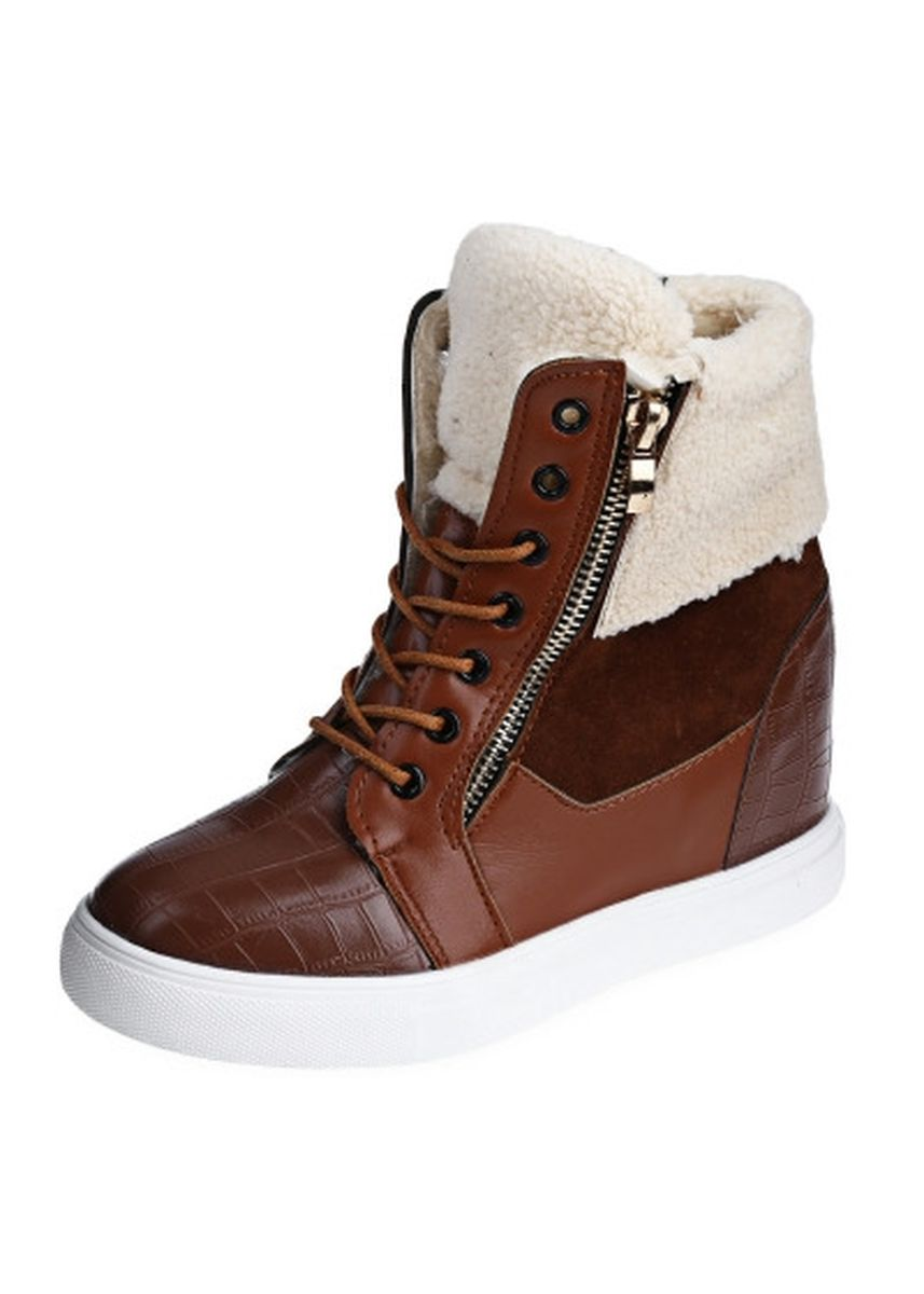Brown color Boots . Retro Patchwork Zipper Decoration Lace Up Lambswool Ladies Height Increasing Warm Boots -