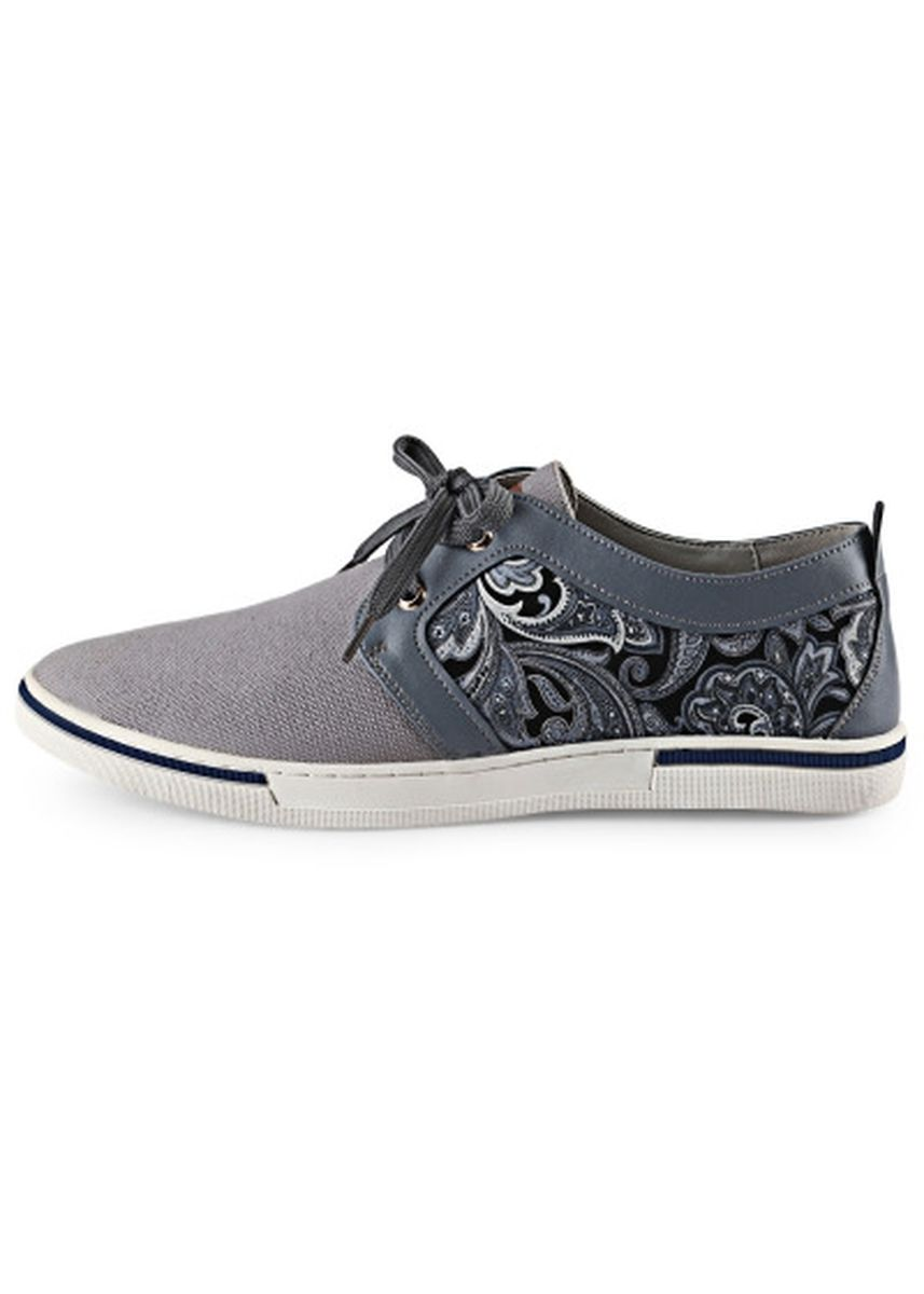 Grey color Casual Shoes . HLA PU Splice Paisley Printed Male Casual Shoes -