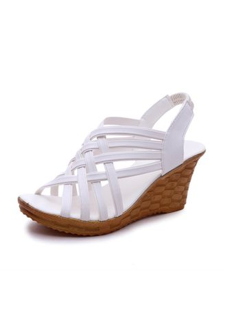 White color Sandals and Slippers . High Heeled Sandals With Fish Mouth -