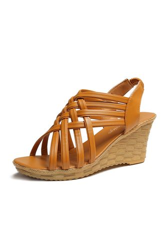 Brown color Sandals and Slippers . High Heeled Sandals With Fish Mouth -