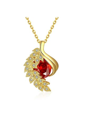 Gold color  . Bella & Co Lady Plant Necklace KZCN130-A Gold Plated Aksesoris Perhiasan Kalung -