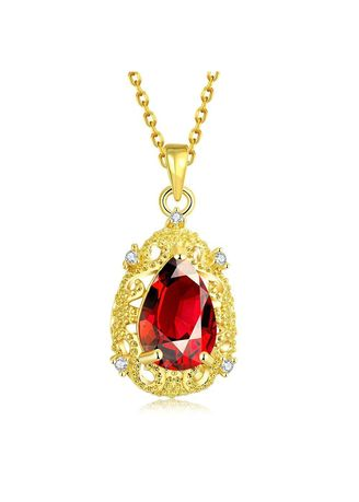 Gold color  . Bella & Co Lady Water Droplets Necklace KZCN108-A Gold Plated Aksesoris Perhiasan Kalung -