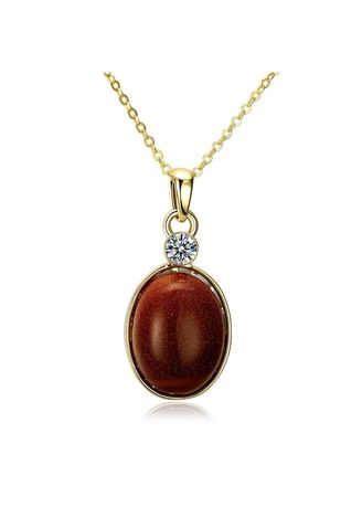 Gold color  . Bella & Co Lady Round Necklace AKN066 Gold Coated Aksesoris Perhiasan Kalung -