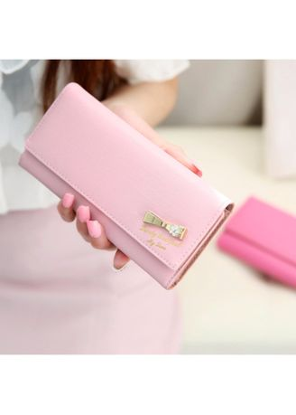 Pink color Wallets and Clutches . KPwallet กระเป๋าสตางค์ตามวันเกิด กระเป๋าสตางค์ผู้หญิง กระเป๋าสตางค์หนัง KW-112 (ชมพู) -