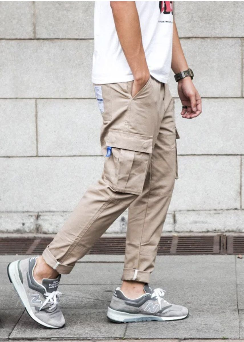 Khaki color Casual Trousers and Chinos . Rebel Status Simon Loop Cargo Chinos Pants -