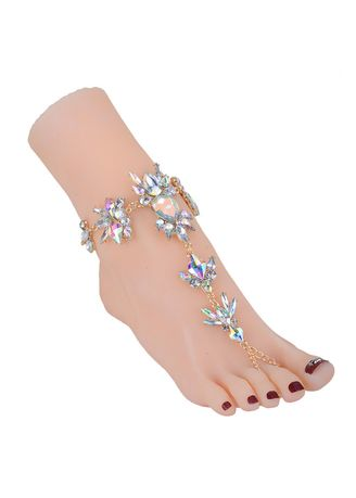 เงิน color  . Women Beach Vacation Ankle Bracelet -