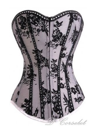 White color Corsets . Floral Lace Overlay Solid Corset -