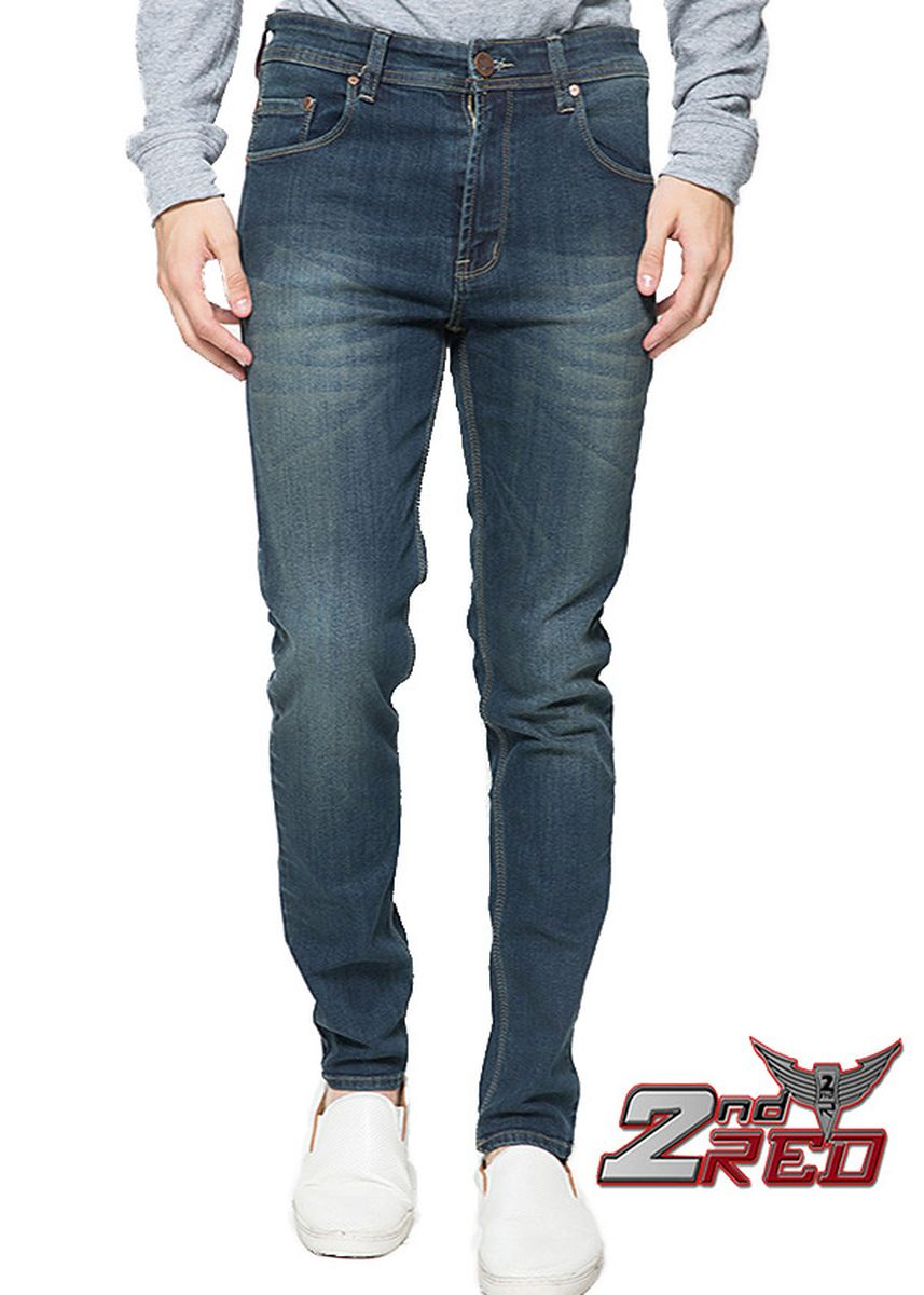 Biru color Celana Jeans . 2Nd RED Celana Jeans Slim Fit Wisker Blue Grey 133221 -