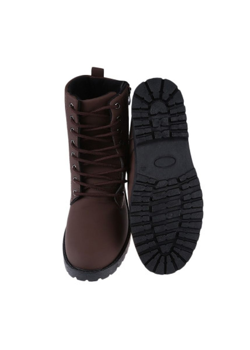 น้ำตาล color บู้ต . Retro Pure Color Zipper Decoration Lace Up Male Outdoor High-top Boots -