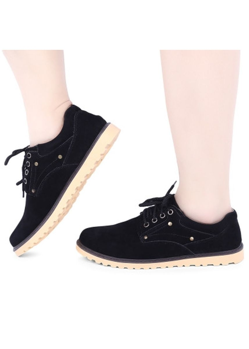 Black color Casual Shoes . England Style Round Toe Lace Up Solid Color Male Shoes -