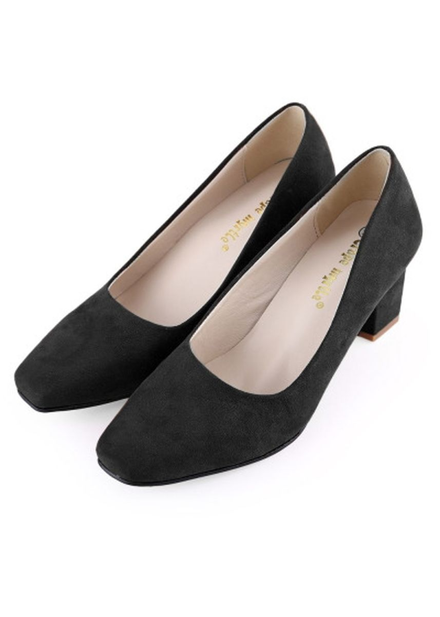 ดำ color รองเท้าลำลอง . Crapemyrtle Casual Solid Color Square Toe Slip On Ladies Rough Heels Shoes -