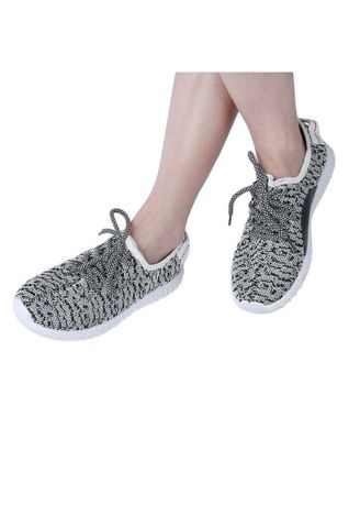 ดำ color รองเท้าลำลอง . Portable Women Mesh Breathable Lace-up Portable Low Running Shoes -