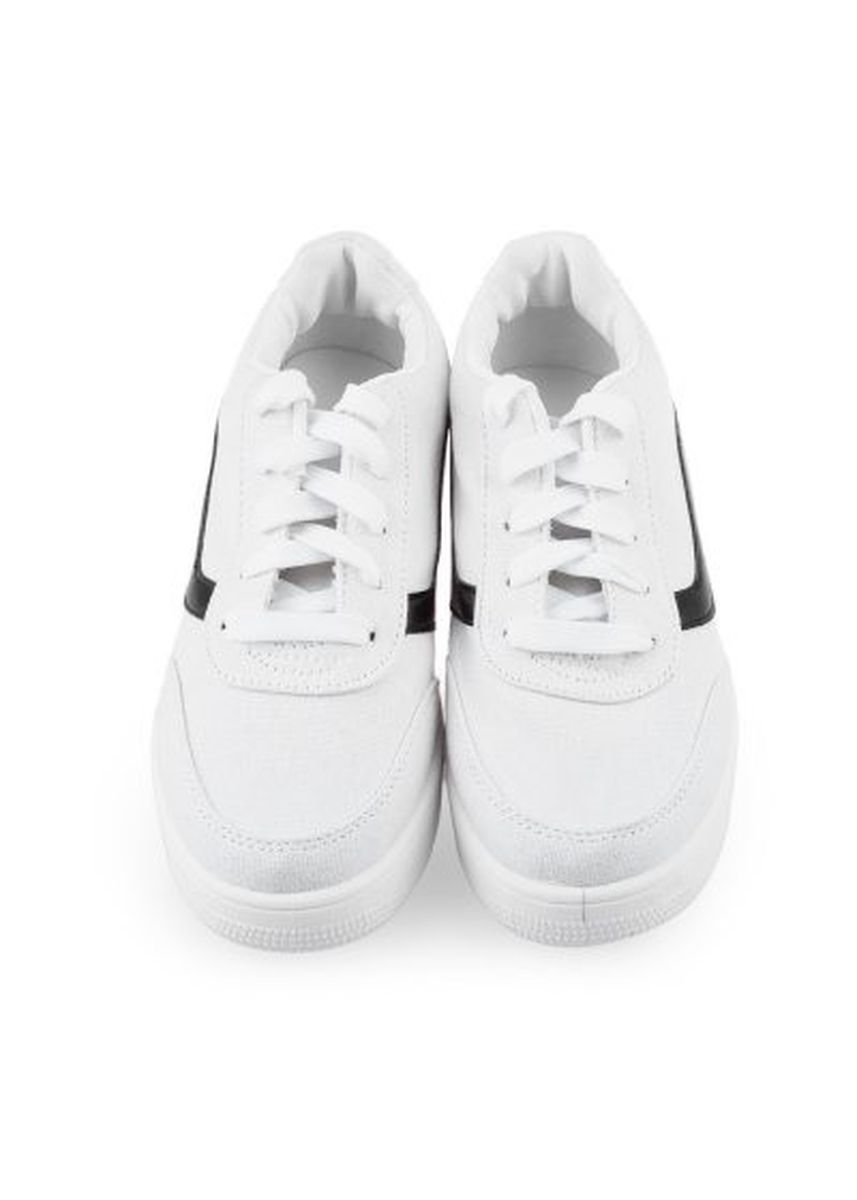 White color Casual Shoes . Ladies Solid Color Skid Resistance Thick Sole Sports Casual Shoes -