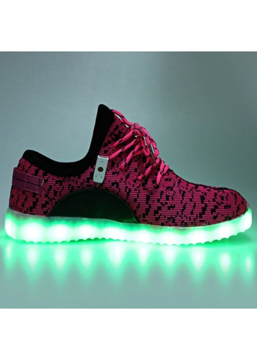 ชมพู color รองเท้าลำลอง . Casual Mesh Lace Up Unisex Charged LED Breathable Sports Shoes -