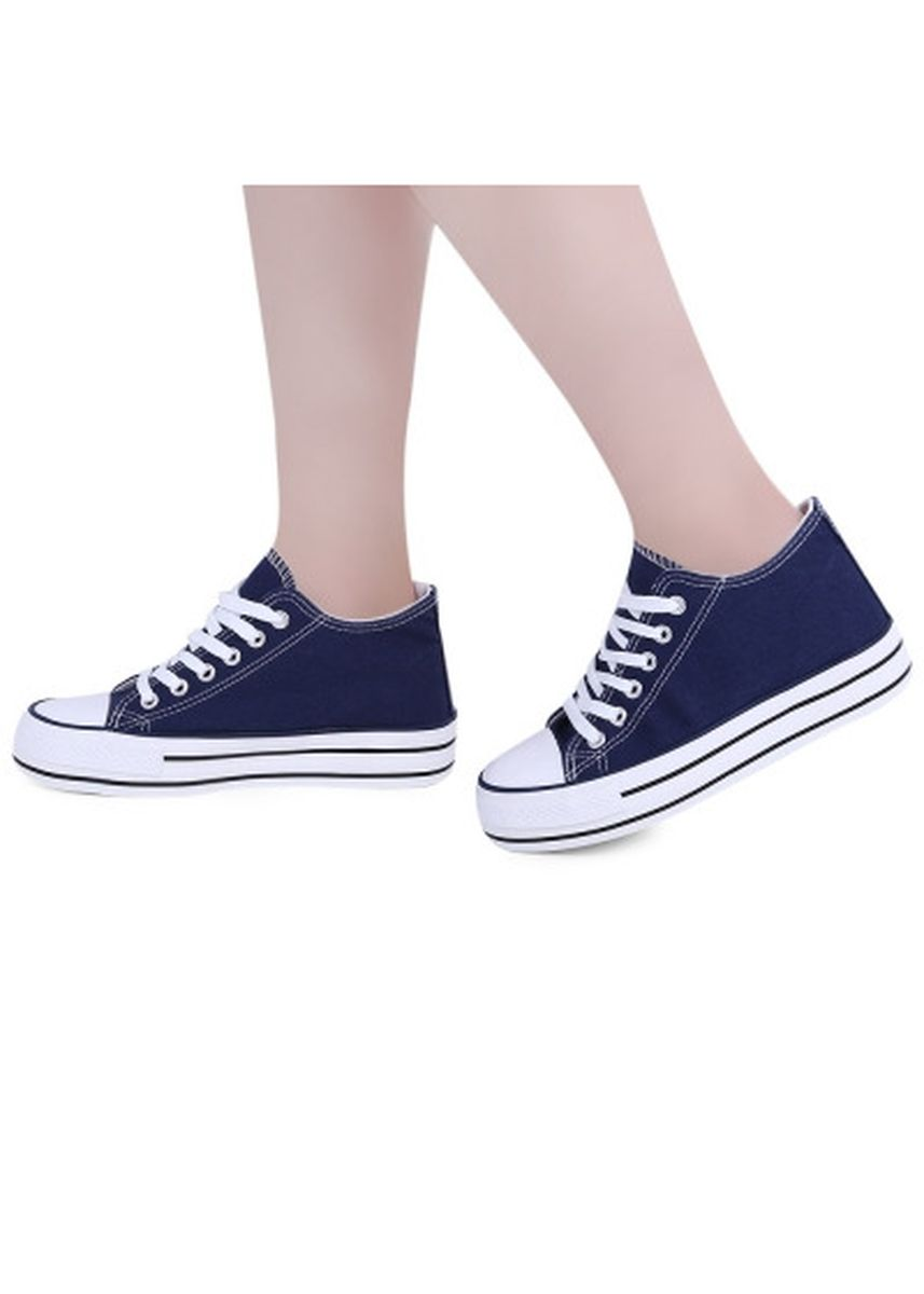 Blue color Casual Shoes . Casual Solid Color Round Toe Lace Up Ladies Height Increasing Canvas Shoes -