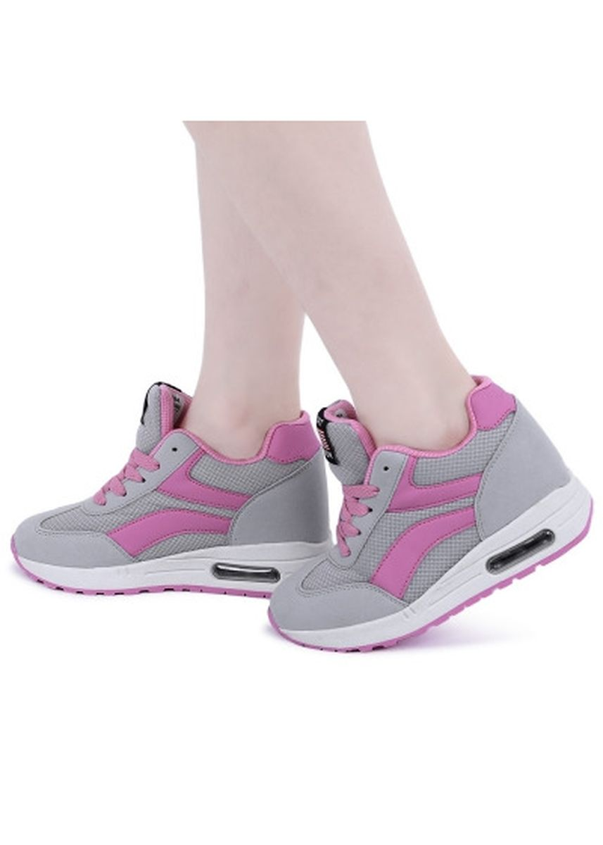 Grey color Casual Shoes . Stylish Mesh Round Toe Lace Up Sports Ladies Height Increasing Shoes -