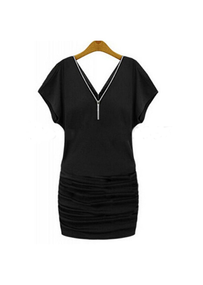 Black color Dresses . Short Sleeved Tunic V Zipper Dress Sexy Low Cut A Large Number Of Spot -