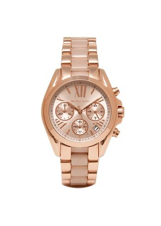 Pink color Analog . MICHAEL KORS Bradshaw Mini Chronograph Rose Dial Rose Gold-tone Ladies Watch MK6066 -