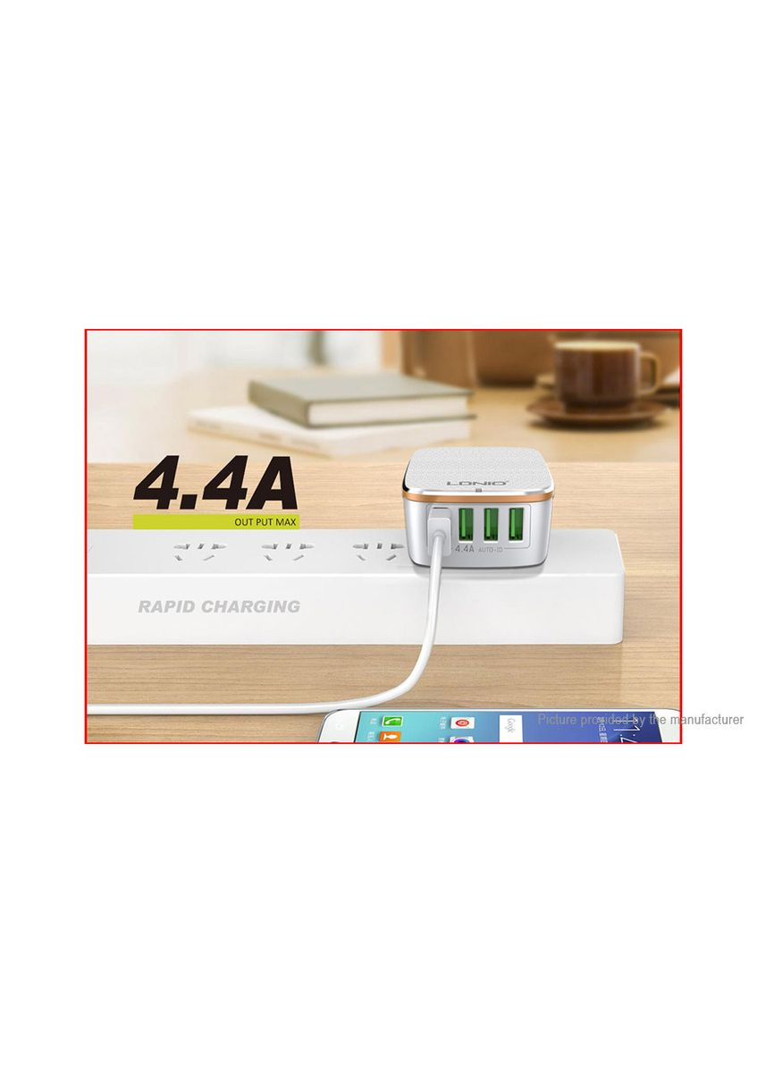 White color  . Original LDNIO A4404 4 Port USB International Travel Wall Charger Adapter -