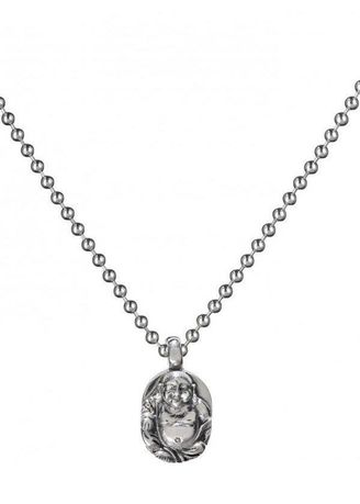 """Silver color Necklaces . Buddha To Buddha Pendant Sitting Buddha + Silver Chain 28"""" -"""