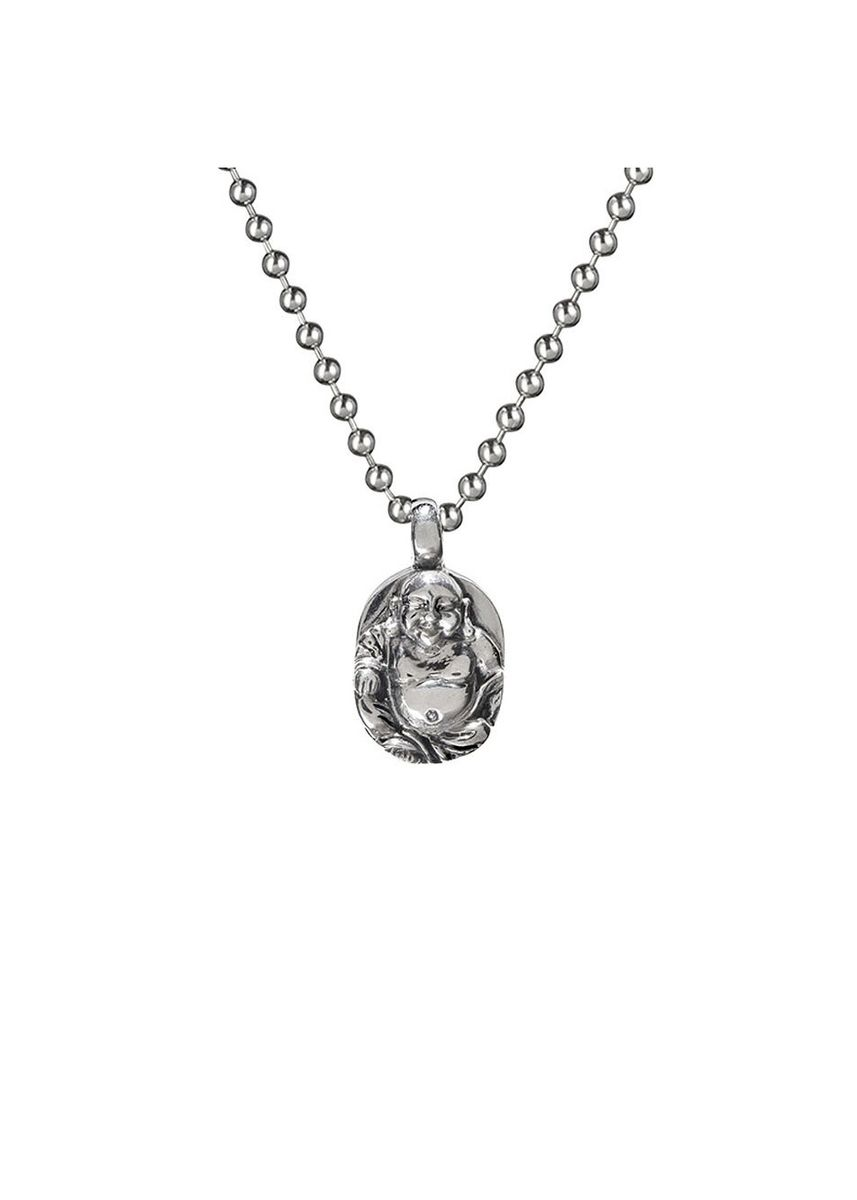 """Silver color Necklaces . Buddha To Buddha Pendant Sitting Buddha XS + Silver Chain 18"""" -"""