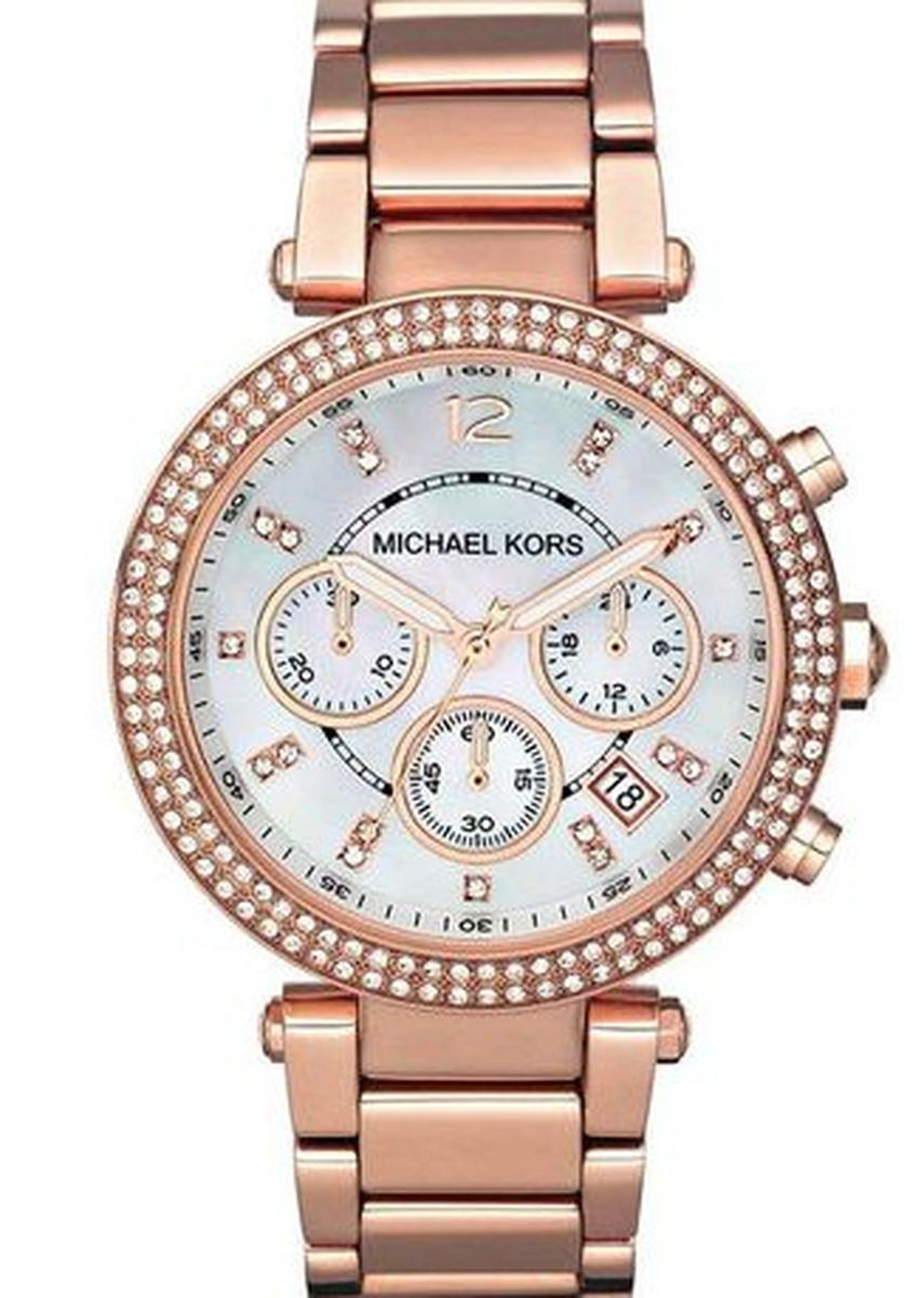 ชมพู color โคโนกราฟ . Michael Kors Chronograph Bracelet Stanless Strap Watch MK5491 - Pink Gold -