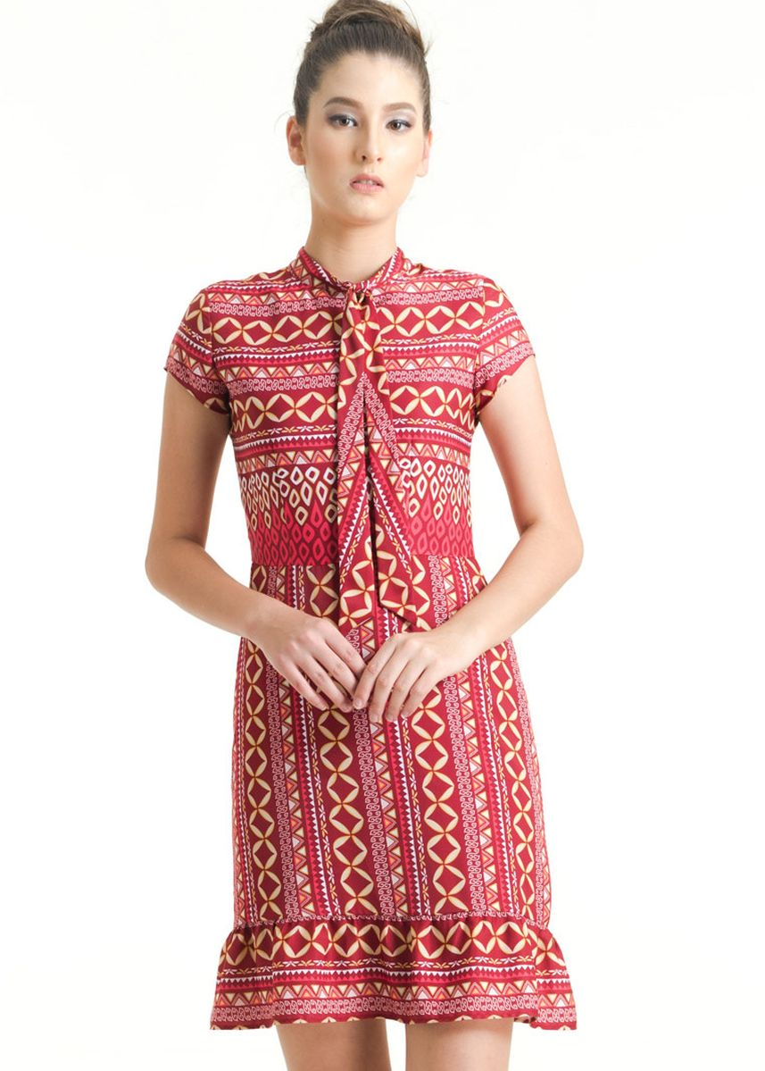 Red color Dresses . Short Sleeve Dobi Print Dress FL011B-FW17 -