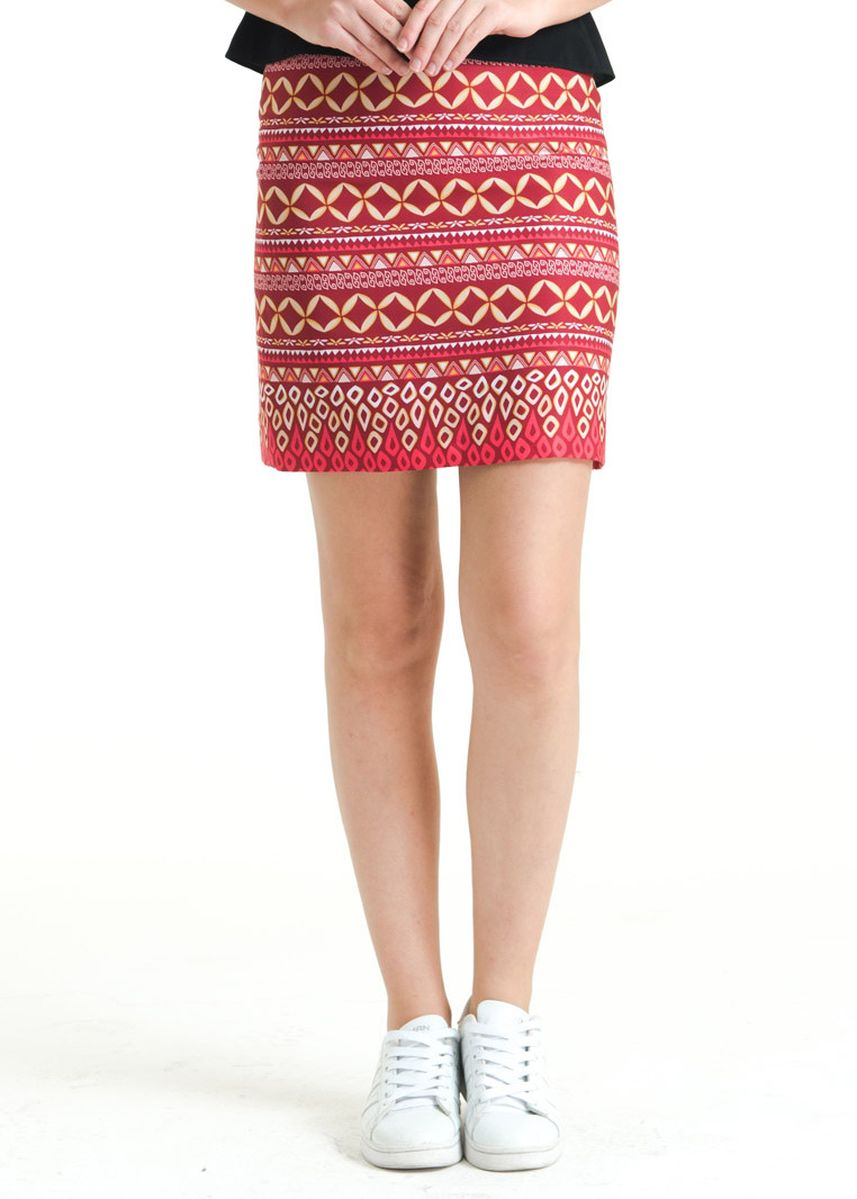 Red color Skirts . Regular Dobi Print Skirt FL011E-FW17 -