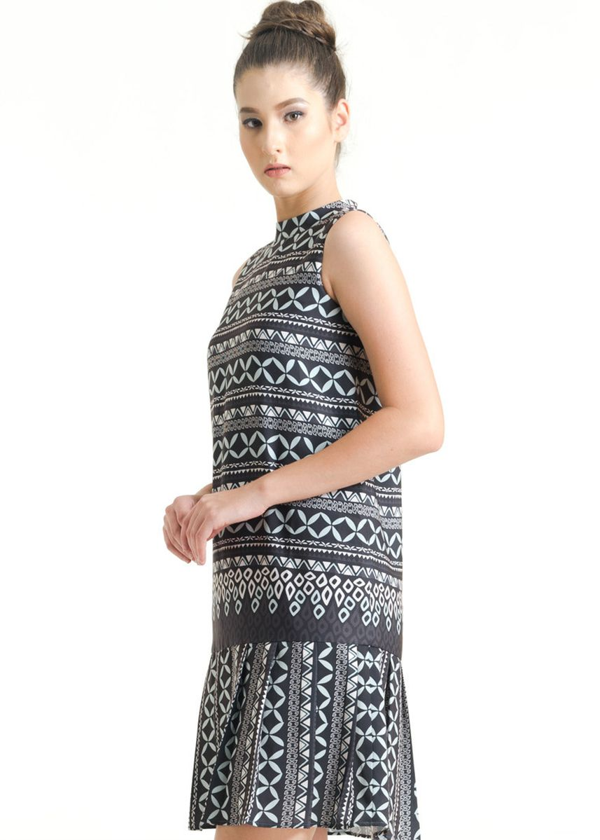 Grey color Dresses . Sleeveless Cotton Print Dress FL009B-FW17 -