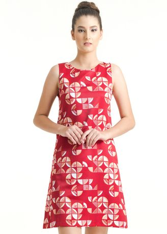 Red color Dresses . Sleeveless Dobi Print Dress FL012B-FW17 -