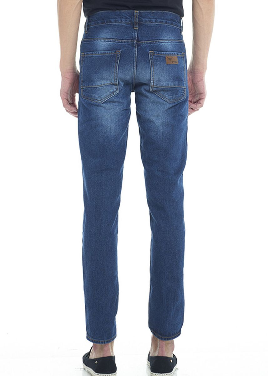 Navy color Jeans . 2Nd RED Celana Jeans Fashion Regular Fit Wiskers Biru Tua 124713 -