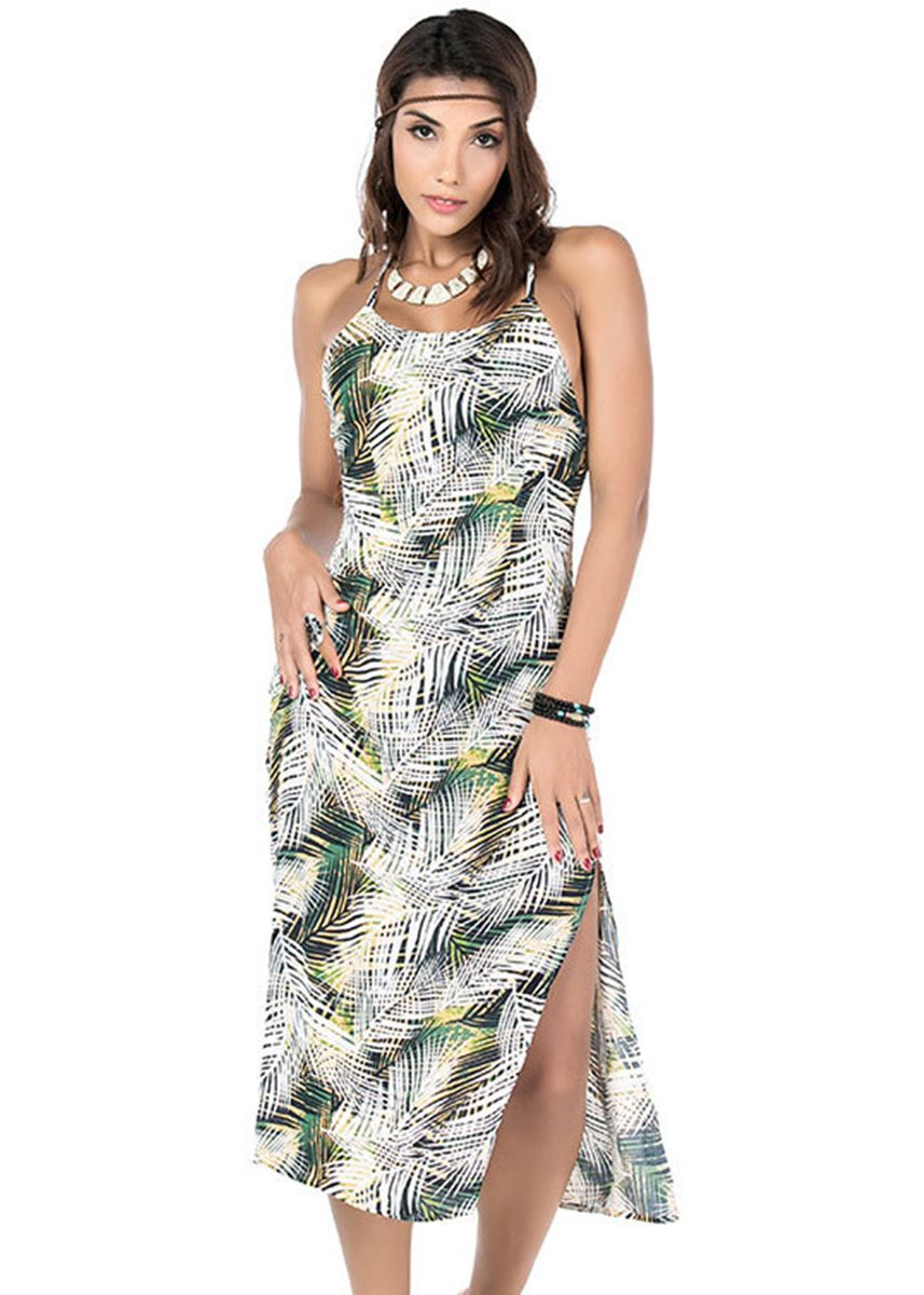 Multi color Dresses . Floral Print Spaghetti Strap Dress -
