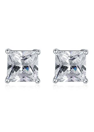 Silver color  . Lady Stylish Square Rhinestone Zircon Copper Platinum Plated Wedding Party Birthday Stud Earrings -