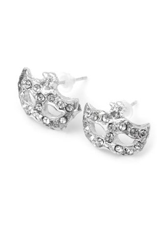 Silver color  . Mask Design Rhinestone Embellished Alloy Stud Earrings for Ladies -