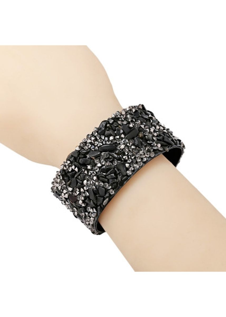 Silver color  . Fashion Multi-layer Row Drill Velvet Hot Drilling Bracelet for Girls -